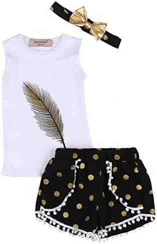 4c35d8f652e 3pcs Set Toddler Kids Girls Feather Print Tank Tops + Tassel Dot Shorts +  Gold