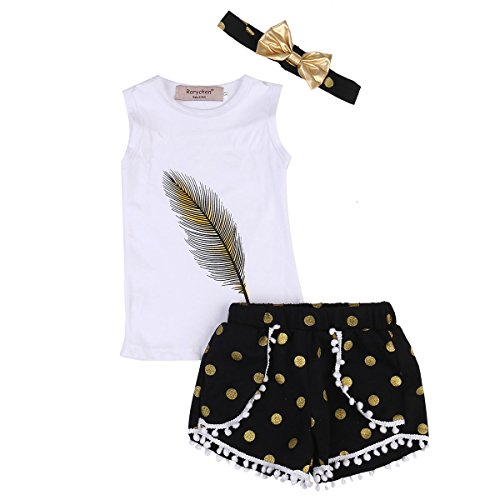 3pcs/Set Toddler Kids Girls Feather Print Tank Tops + Tassel Dot Shorts + Gold Bowknot Headband Outfits Clothes (Feather Print Tank)