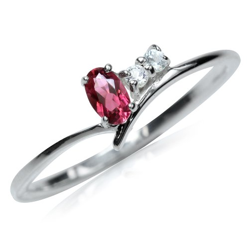 (Natural Pink Tourmaline & White Topaz 925 Sterling Silver Ring Size 10)