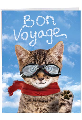Jumbo Humorous Bon Voyage Card From All of Us: Goodbye Cat With a cat waving farewell, with Envelope 8.5 x 11 Inch J6856BVG-US