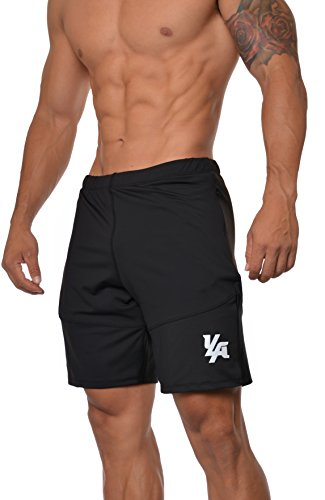 YoungLA Men's Yoga Running Shorts w/Zipper Pockets Black - Shorts Liner Running Without