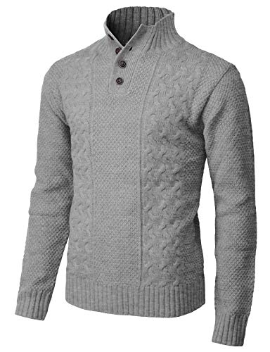 H2H Mens Fashion Mock Henley Neck Long Sleeve Pullover with Diamond Knitted Gray US 2XL/Asia 3XL (CMOSWL028) ()