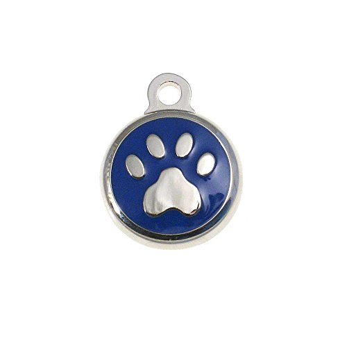 (LuckyPet Pet ID Tag - TINY Paw Print Jewelry Tag - Dog & Cat Tags for the Smallest Pets - Custom Engraved on Back Side - Color: Blue)
