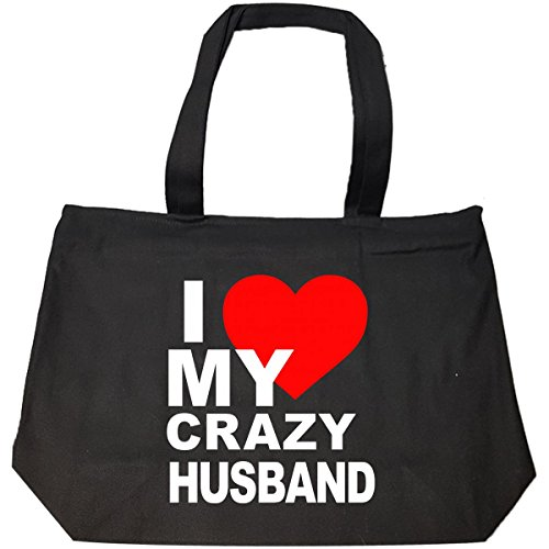 Best Couple Gifts I Love My Crazy Husband - Tote Bag With Zip by jcluinc