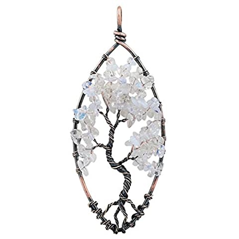 rockcloud Tree of Life Tumbled Stone Pendant Necklace Wire Wrapped Oval Shape - Life Pendant Wire