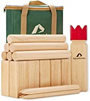 ApudArmis Kubb Yard Game Set, Viking Chess Outdoor Clash Toss Yard Game with Carrying Case - Rubber Wooden Bac