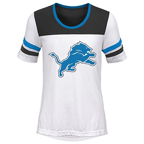 Outerstuff NFL NFL Detroit Lions Youth Girls Tail Back Short Sleeve Tee White, Youth Medium(10-12) ()