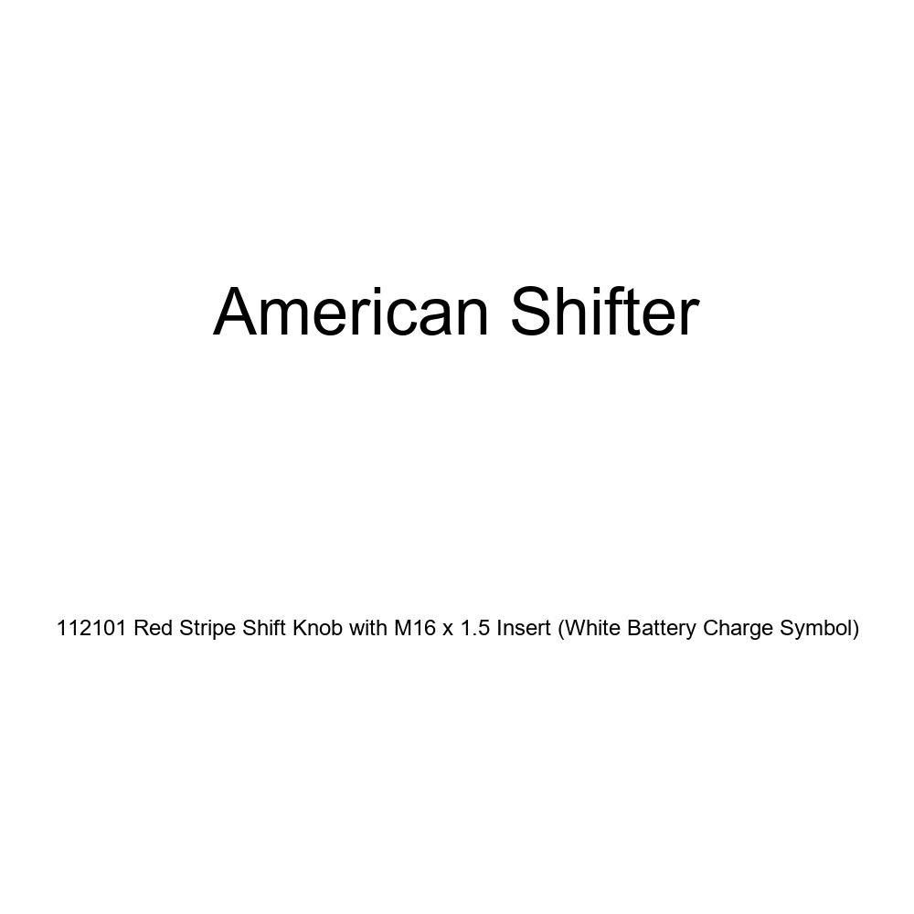 White Battery Charge Symbol American Shifter 112101 Red Stripe Shift Knob with M16 x 1.5 Insert