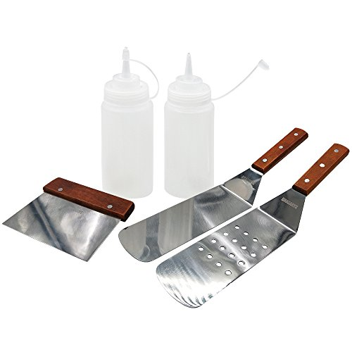 Dracarys Grill Griddle BBQ Tool Kit, 5 Pieces Professional Grade Multi-purpose Tools-2 Spatulas, 1 Chopper Scrapper and 2 Bottles 16oz - Great for Blackstone Grill, Weber Grills and Other Grills