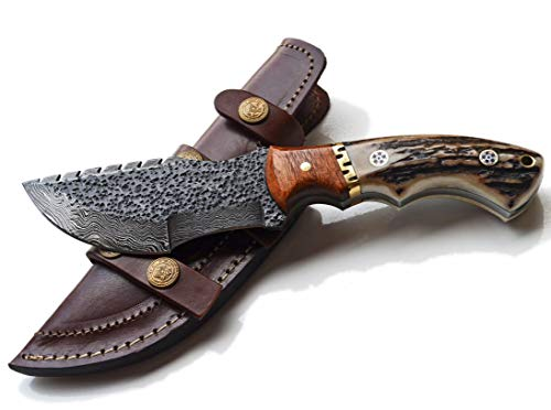 Whole Earth Supply Tracker Knife – Stag Handle, Hammered Damascus Hunting Skinning Knives Blades Blade Knife