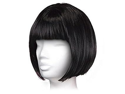 Peluca sintética bob corto liso, corte tipo casco, accesorio Alsino ideal para