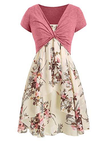 Leomodo Spaghetti Strap Dress Two-Piece Floral Print Beige]()