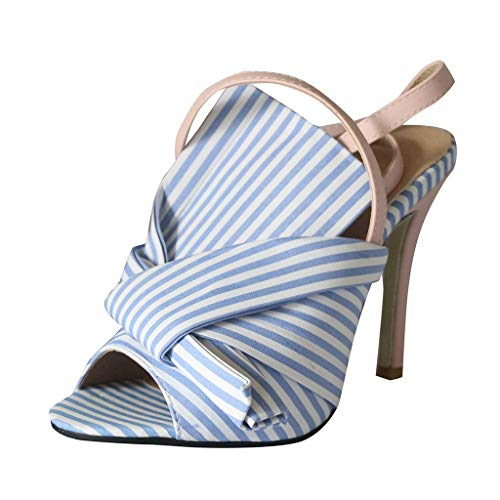 Respctful✿Women's Fashion Heeled Sandals Poin Toe Ankle Strip Adjustable Wedge Dress Sandals Slip On Poin Booties Cute Bow Blue