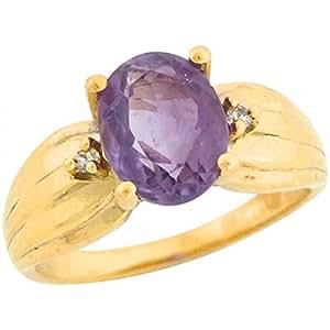 14k Real Yellow Gold 1.75ct Amethyst Diamond Accents Enchanting Ring