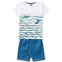 Conjunto Infantil Menino Camiseta Bermuda Moletinho Sarjado