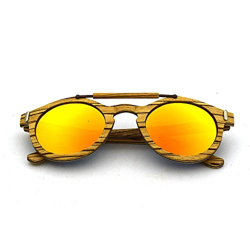 Sol de Unisex Azul UV400 Azul Gafas protección polarizadas Unisex a Hechas Naranja Madera Mano Aclth de de Colores Lentes 6atfE