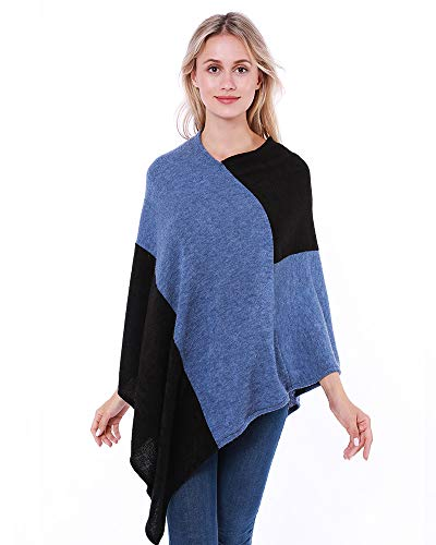 Women Poncho Sweater Patchwork Knitted Shawl Lightweight Pullover Cape Gifts for Womens Mom Blue