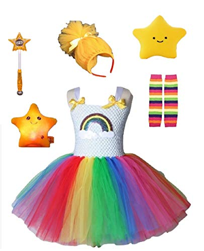 Rainbow Bright Costume Tutu Dress/Accessories from Chunks of Charm (Yellow Tulle Hair Headband) -