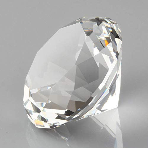 F-ber 1pc 60mm Clear Crystal Diamond Shape Paperweight Cut Glass Display Ornament Gift