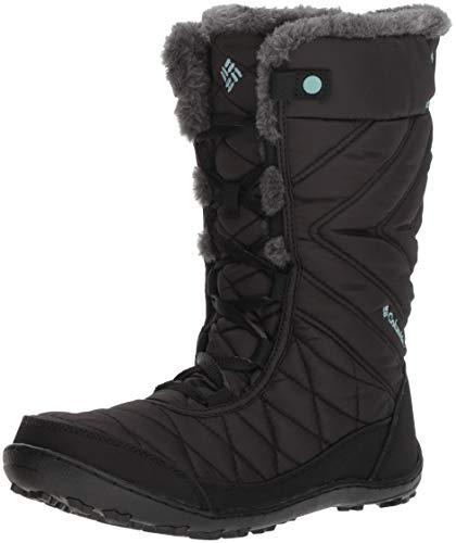 Columbia Girls' Youth Minx MID III Waterproof Omni-Heat Snow Boot Black, Iceberg 2 Regular US Little Kid