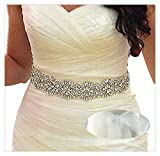 SoarDream Wedding Sash White Organza-Crystal Beaded Ivory Satin Bridal Sash Wedding Belt for Bride