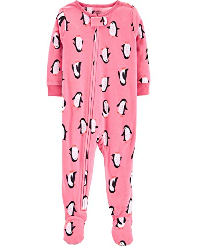 Carter's Baby Girls' One-Piece Fleece Footie Pajamas (Pink/Penguins, ()