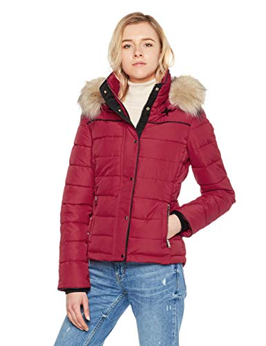 Royal Matrix Women's Short Coat Heavy Quilted Puffer Soft Fabric Outerwear with Removable Faux Fur (Wine, Extra Large) ...
