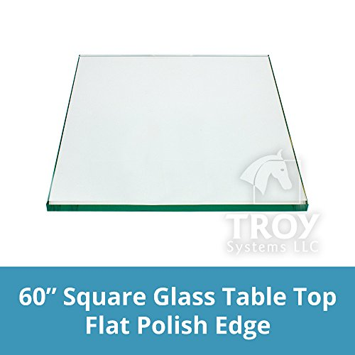 TroySys Square 1/4 Inch Thick Flat Polished Tempered Glass Table Top, 60'' L by TroySys