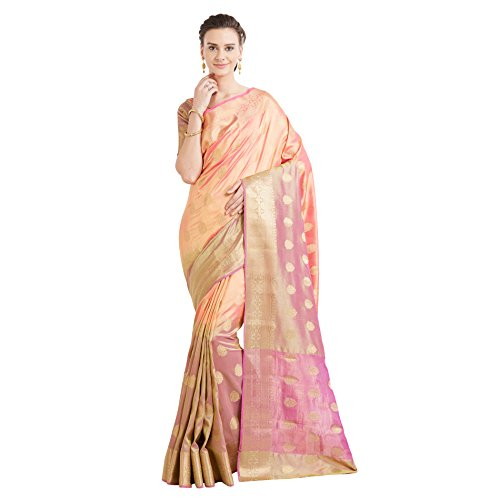 Viva N Diva Sarees For Women's Banarasi Latest Design Party Wear Shaded Pink Colour Banarasi Art Silk Saree With Un-Stiched Blouse Piece,Free Size