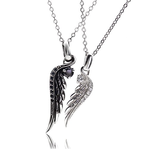 VELVY Silver 925 Feather Engraved Couple Pair Pendant Necklace Men's Women's (With Paper bag BOX) tb313 by VELVY