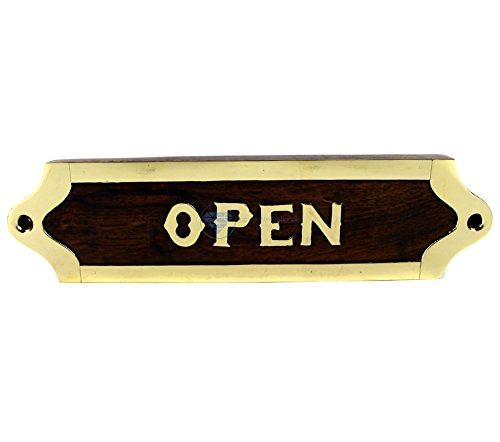 Nagina International Hand Crafted Wooden Designation & Title Name Plate | Nautical Wood Plaque & Door Sign | Captain's Maritime Nursery Home Wall Decor (Open) - Nursery Sign Board