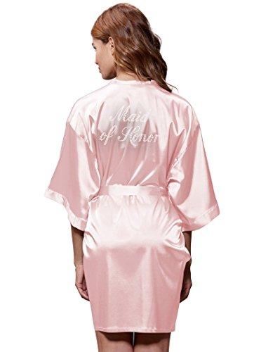 Turquaz Linen Satin Kimono Rhinestone Maid of Honor Robe (Large, Light Pink)