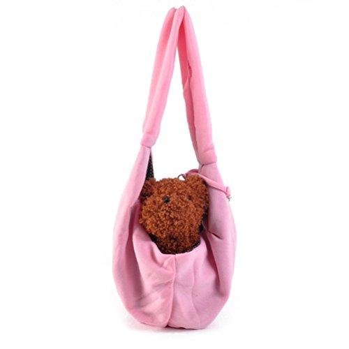 UEETEK Mains-libres petit chien chat Sling sac voyage animaux fourre-tout sac à bandoulière pochette lapin doux Pupppy Kitty (rose)
