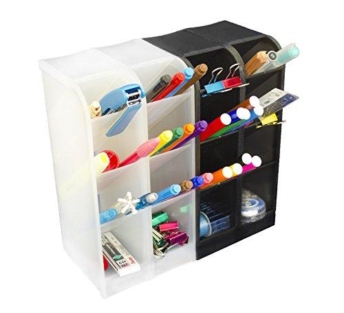 STYLIO Office Desk Organizer - Caddies for Office/Teacher Supplies – Translucent Black & White Caddy Organizer Racks (Set Of 4) Perfect for Desktops by Stylio (Image #7)