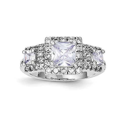 Lavender Cubic Zirconia Band - ICE CARATS 925 Sterling Silver Lavender Square Cubic Zirconia Cz Band Ring Size 6.00 Fine Jewelry Ideal Gifts For Women Gift Set From Heart