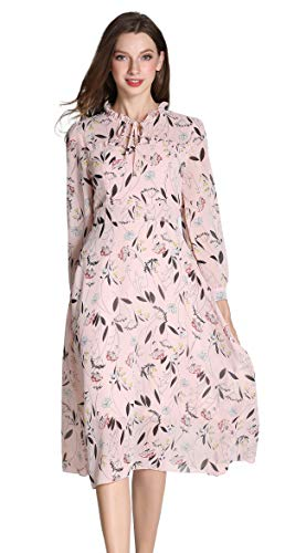 High Collar Dress - Shineflow Women's Vintage Floral Printed Lotus Sleeves Elastic Waist Pleated Swing Cocktail Party Midi Dress (Pink, L)
