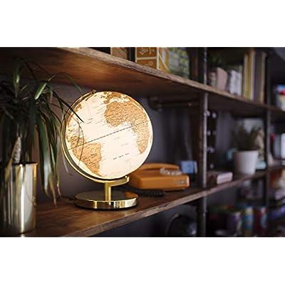 Wild Wood Illuminated Geographic World Desk Globe, LED Lighting, and USB Plug, Arctic White: Office Products