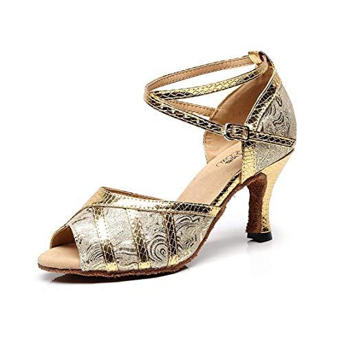 Moda Oro Sandalias Latino 5 7 Baile A Qiusa Sintético Tobillo Uk Hechas Correa Salón color Salsa Tamaño Señoras Mano De I8wI6q1xp