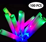 ColorHome Glow Sticks Party Pack- 100 Light Up Foam Sticks with 3 Modes LED Flashing,Glow in The Dark Party Supplies for Birthday Parties,Weddings,Concerts,Christmas,Halloween,Hawaiian Luau