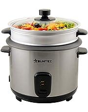SUNTEC 2-in-1-rijstkoker en -stoomkoker in rvs-uitvoering – inhoud 1 liter | max. 400 watt | met warmhoudfunctie | incl. maatbeker en lepel | RKO-9974 Thuy-Denise