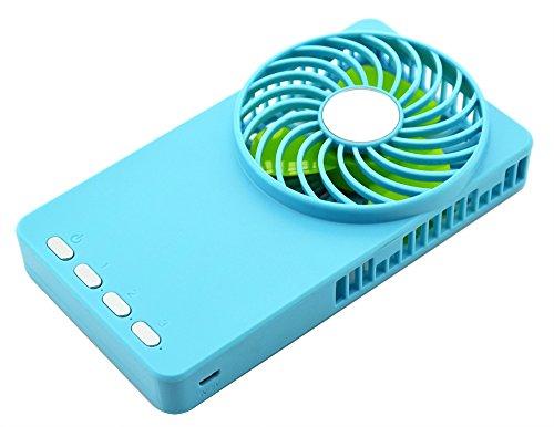 Topwell® Hand-held Mini Fan Mirror fan Ultra-thin Electric-Powered Cooler 3 Speeds Portable Mini USB Summer Fan Rechargeable Pocket Fan Personal fan with 18650 Rechargeable Battery (Blue)