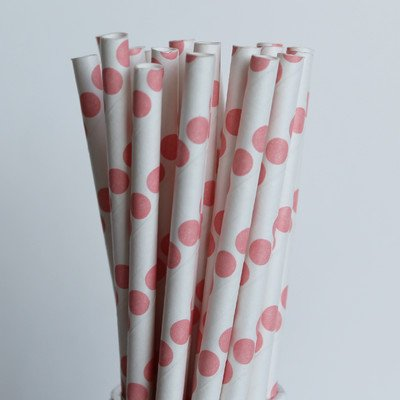 polka-dot-paper-straw-set-of-100-color-coral