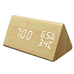 MORE11 Wood Triangle Digital Alarm Clock, with Temperature and Humidity Meter for Home Bedrooms Office Kids Teens- 3 Levels Adjustable Brightness Dimmer, USB Charging(Bamboo Wood)