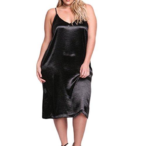 Coolred-femmes Oversize Pur À Fines Bretelles Couleur Légère Robe De Cocktail Clubwear Noir