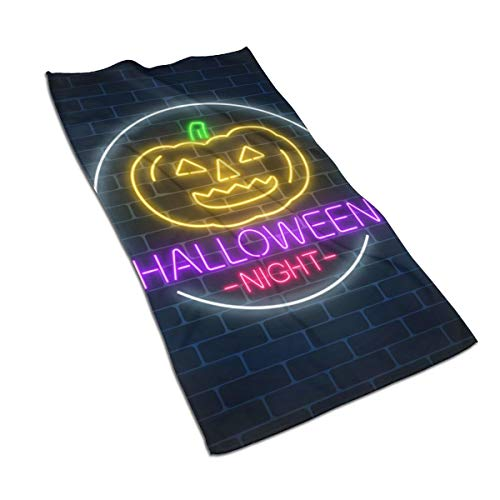 Glowing Neon Sign Of Halloween Invitation Banner Face Towel,Hand Towel,Kitchen Towels-Dish 3D Design Pattern Towel Microfiber Hair Towel,Sports Quick-drying Towel,Good For Yoga Beach And Travel