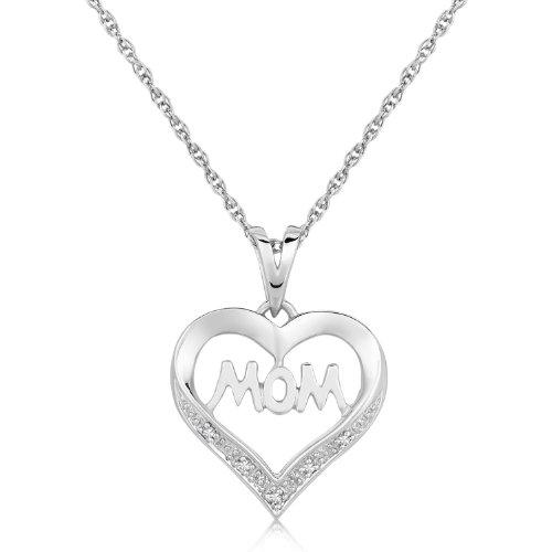 Sterling Silver MOM Heart Motif Diamond Accented Pendant (.01 ct - Pendant Mom Diamond Accented