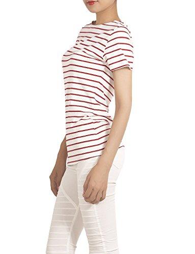 iB-iP Mujer Patrón De Rayas Knit Tees cintura Camisa Rojo & Blanco