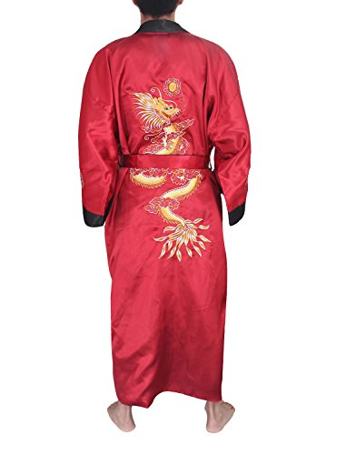 (SexyTown Long Satin Lounge Bathrobe Classic Print Embroidery Kimono Robe Nightgown (Small, Burgundy-Black(Reversible)))