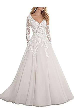 Huati Women s Applique Lace Backless Long Sleeve Wedding Dresses at ... ac524fb087
