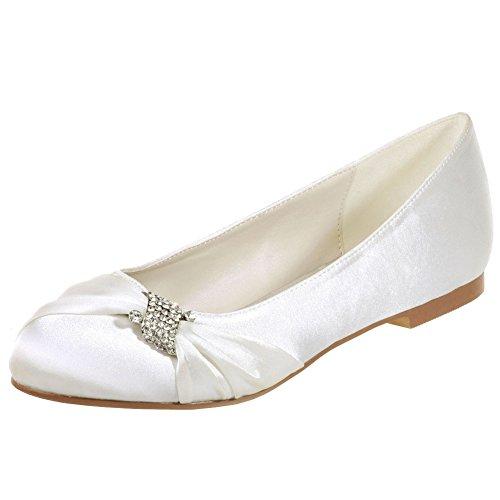 Loslandifen Mujeres Rhinestones Round Toe Stain Flats Slip En Zapatos Nupciales De La Boda Ivory-a